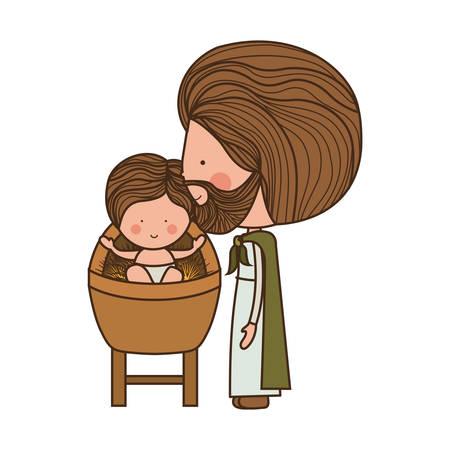 bebé Jesús de la historieta que sonríe en un pesebre con San José sobre el fondo blanco. ilustración vectorial