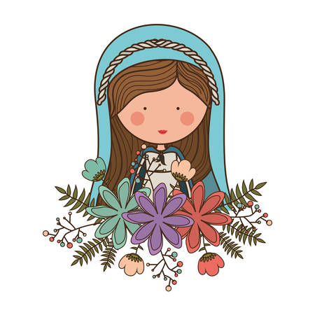 nativety: cartoon virgin mary woman smiling and wearing blue mantle and decorative colorful flowers ornament over white background. vector illustration