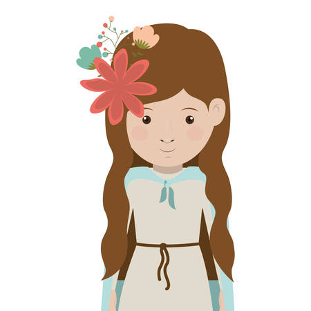 cartoon virgin mary woman smiling and decorative flowers in hair over white background. vector illustration