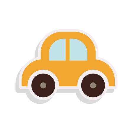 yellow car: baby yellow car toy over white background. vector illustration Illustration