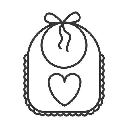 beautiful baby bib with heart icon over white background. vector illustration Illustration