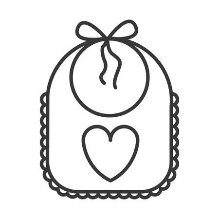 tejido de lana: hermosa babero del bebé con el icono del corazón sobre fondo blanco. ilustración vectorial