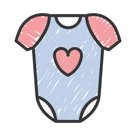 baby girl  bodysuit with heart icon over white background. vector illustration Illustration