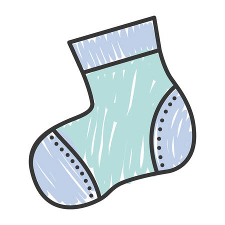 blue baby sock icon over white background. draw and sketch design. vector illustration Illustration