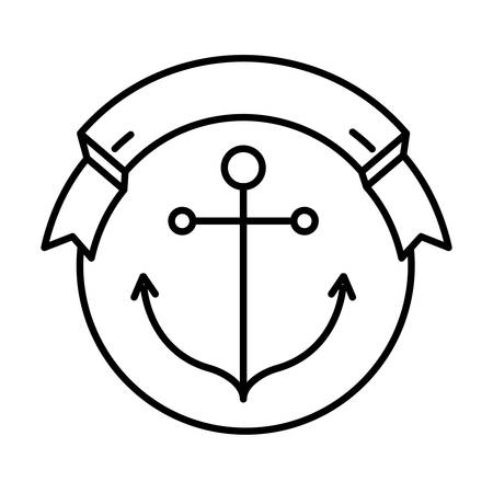 seal stamp with ribbon and anchor  icon inside over white background. vector illustration