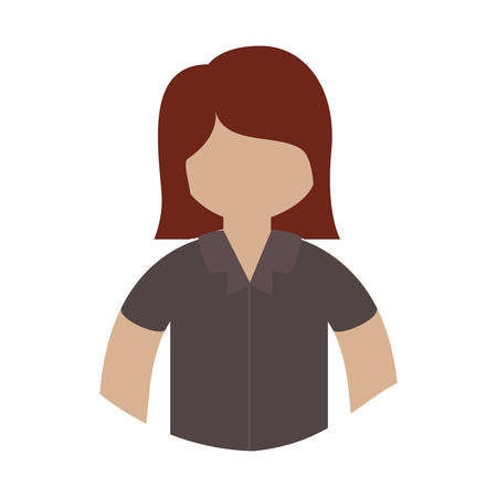 brown shirt: avatar female woman cartoon wearing brown shirt over white background. vector illustration