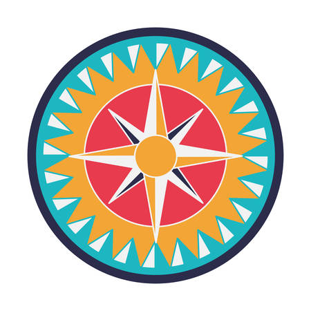 compass rose: vintage compass wind rose icon over white background. navigation and travelling theme. colorful design vector illustration