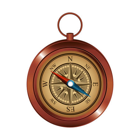 antique compass navigation device over white background. vector illustration