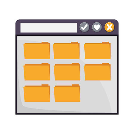 net bar: internet browse window with files folders icons over white background. vector illustration