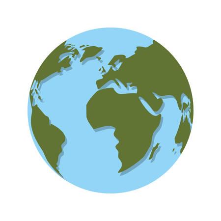earth planet sphere icon. world globe over white background. vector illustration