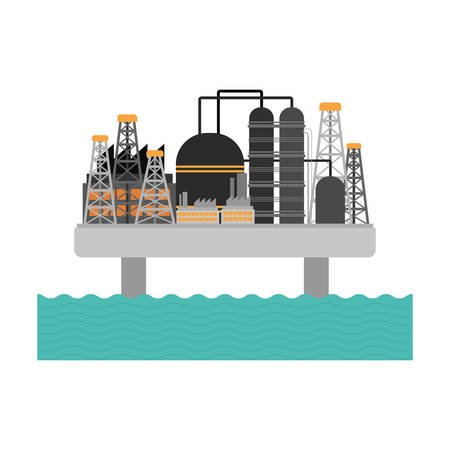 oil refinery factory building icon over white background. vector illustration