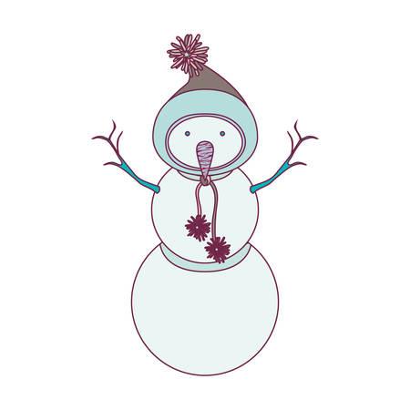 snowman cartoon: Snowman with hat cartoon icon. Merry Christmas season decoration figure theme. Isolated design. Vector illustration