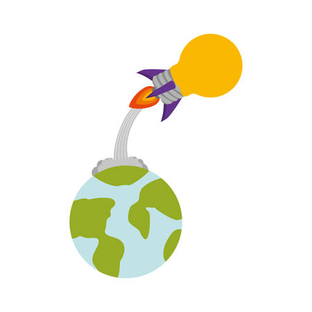 launcher: rocket startup bulb launcher and earth planet isolated icon vector illustration design