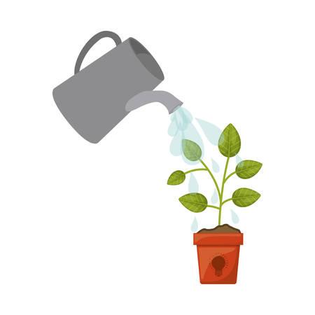 konewka spraye krople wody powyżej zielonych roślin w doniczce ikona na białym tle. ilustracja wektorowa