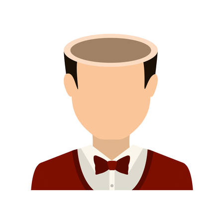 avatar man wearing suit and bow tie with open head . profit design. vector illustration