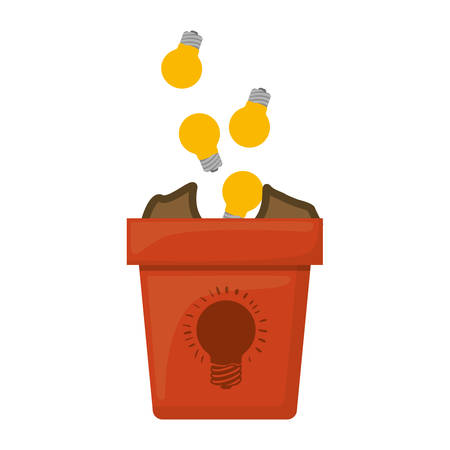 money plant pot with gold coins over white background. vector illustration