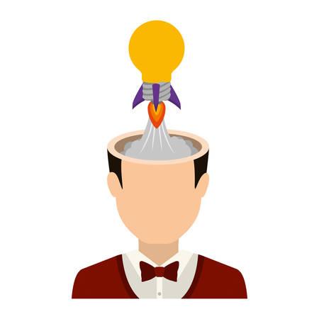 avatar man with open head and bulb light rocket. profit design. vector illustration