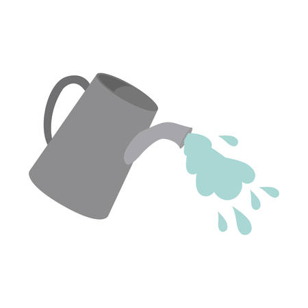 flowerpots: watering can sprays water drops. isolated design. vector illustration Illustration