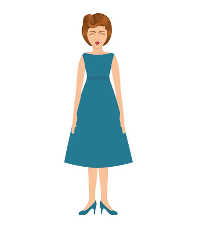 blue dress: woman with blue dress and collected hair vector illustration Illustration