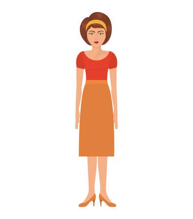 headband: woman with eighties style and high waisted skirt vector illustration Illustration