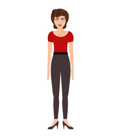 red tshirt: woman with red t-shirt and pants vector illustration