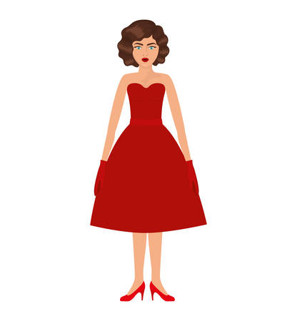 hand on chin: woman with red prom dress and eighties hairstyle vector illustration