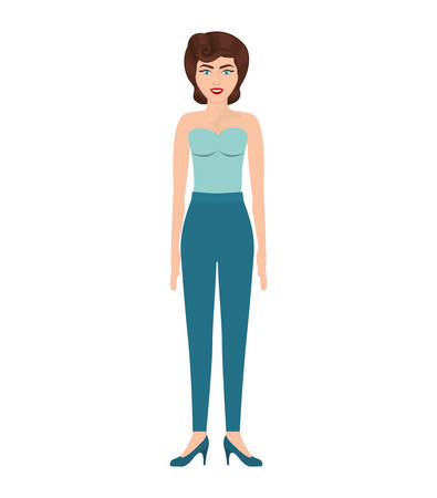 eighties: woman with strapless blouse and eighties hairstyle vector illustration Illustration