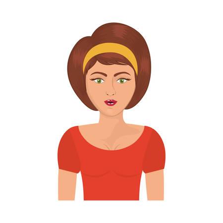 brown hair: half body woman with headband and short brown hair vector illustration Illustration