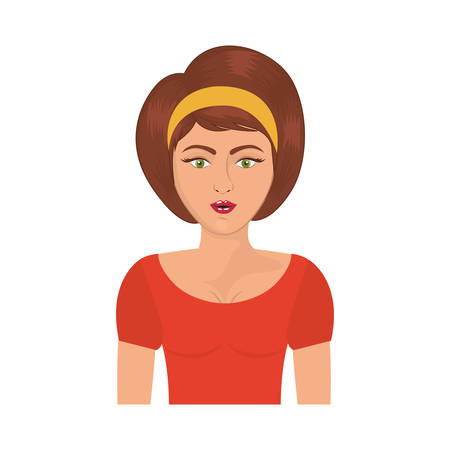 half body woman with headband and short brown hair vector illustration Illustration