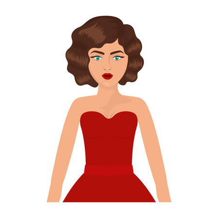 eighties: half body woman with red prom dress and eighties hairstyle vector illustration