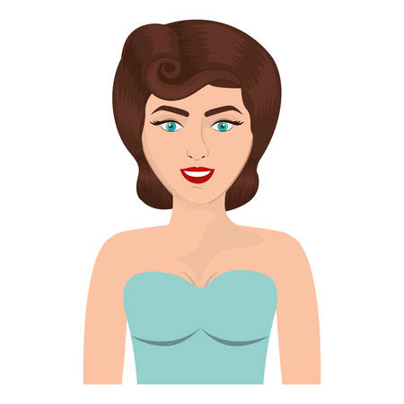 strapless: half body woman with strapless blouse and eighties hairstyle vector illustration