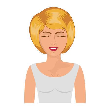 white blouse: half body blonde woman with white blouse vector illustration
