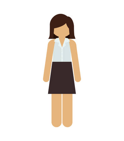 short hair: silhouette woman with short hair and skirt vector illustration Illustration