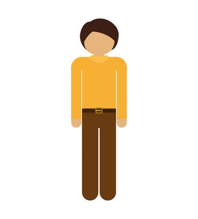 he is beautiful: silhouette man with formal shirt and pants vector illustration