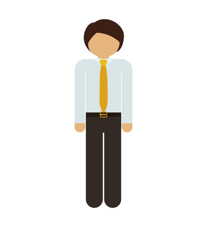 he is beautiful: silhouette man with formal suit and necktie vector illustration Illustration
