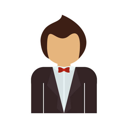 he is beautiful: half body man with formal suit and bowtie vector illustration