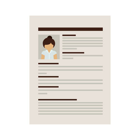 curriculum vitae: front document with woman curriculum vitae vector illustration