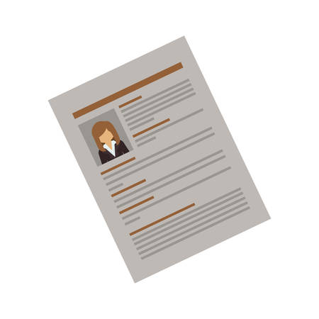 curriculum vitae: side document with woman curriculum vitae vector illustration Illustration