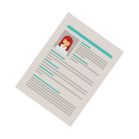 right side: right side document with woman curriculum vitae vector illustration
