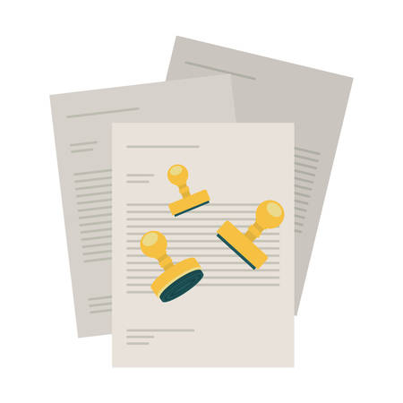 pay bills: silhouette with bills to pay and stamp shape vector illustration