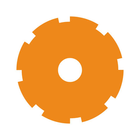 orange silhouette toothed pinion icon vector illustration Illustration