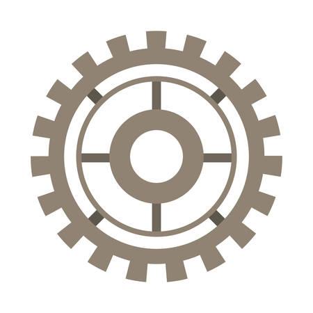 mechanism of progress: brown silhouette gear wheel icon vector illustration Illustration