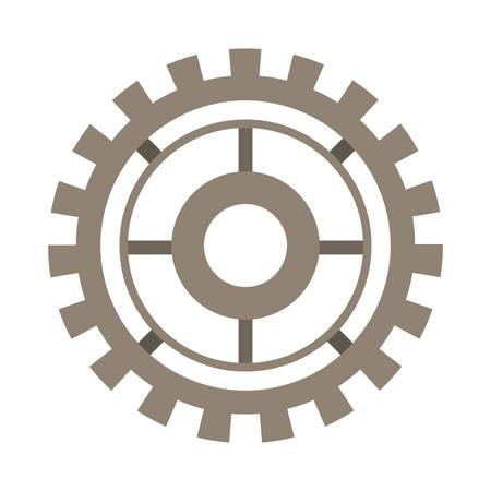 brown silhouette gear wheel icon vector illustration Illustration