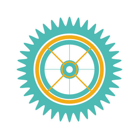 silhouette gear wheel with pinion vector illustration