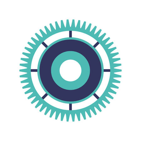 silhouette gear wheel with crown vector illustration