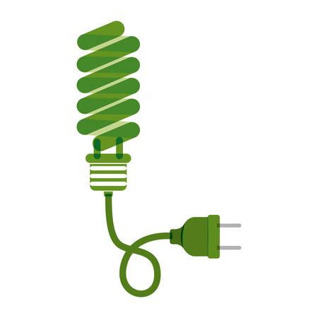 green bulb: green bulb fluorescent with plug vector illustration