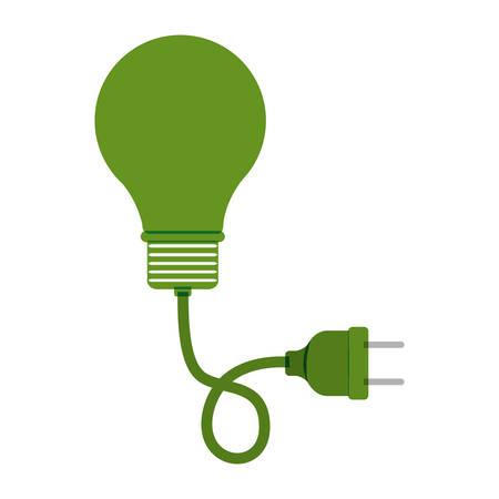green bulb: green bulb light with plug vector illustration Illustration