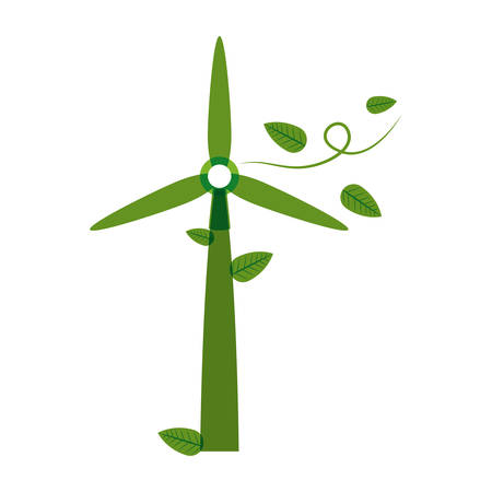 green power: green silhouette wind power generator with leaves vector illustration