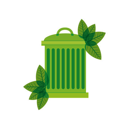 green trash bin with leaves vector illustration