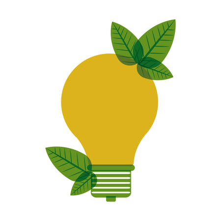 yellow light bulb with leaves vector illustration Illustration